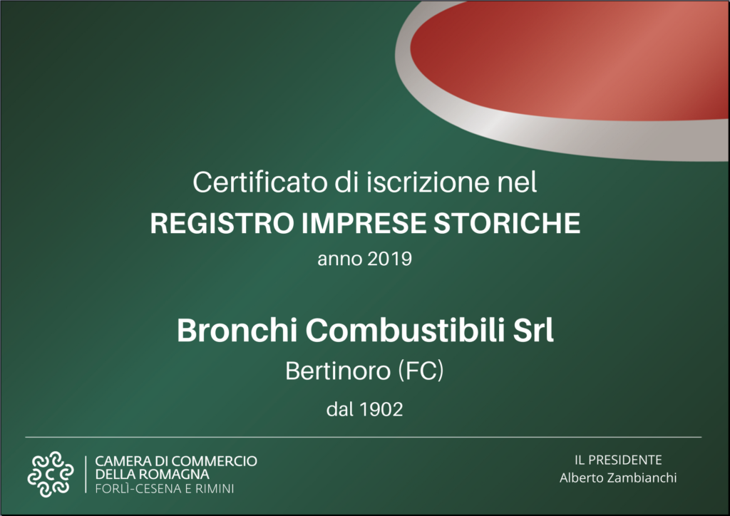 Certificato iscrizione Registro Imprese Storiche Bronchi Combustibili